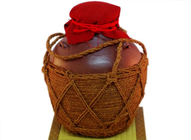 耳壺2升甕カメ(縄あり)帽子、蓋付き、正面畳台のせ