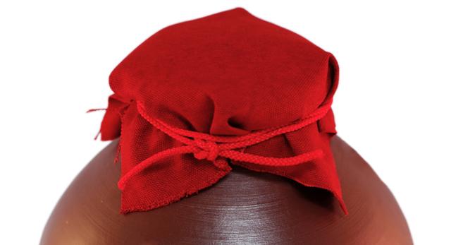 龍壺10升甕カメ(縄なし)帽子、蓋付き、上部アップ