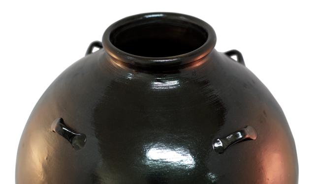 耳壺5升甕カメ、黒壺、上部アップ、壺質感