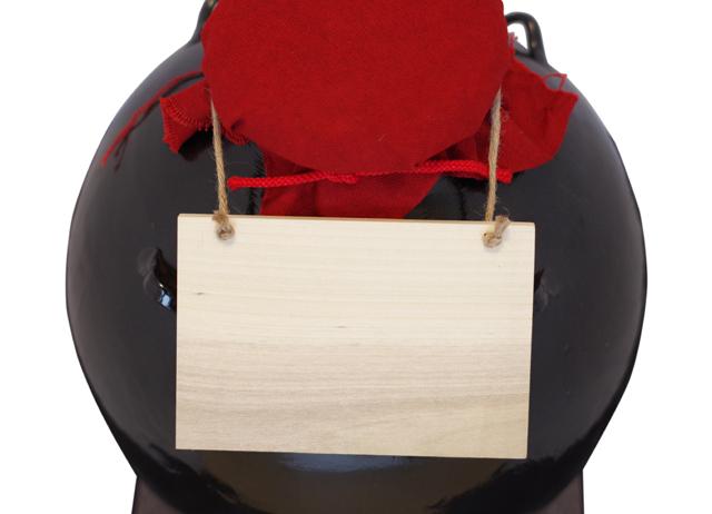 耳壺5升甕カメ、黒壺、帽子、蓋&木札付き、上部アップ