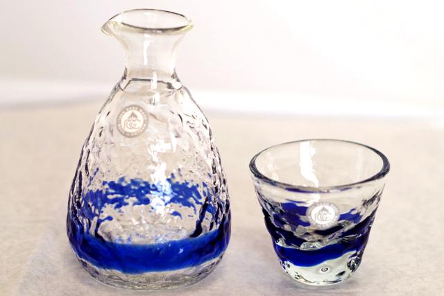 琉球ガラス、徳利、おちょこセット、青、おちょこ1個