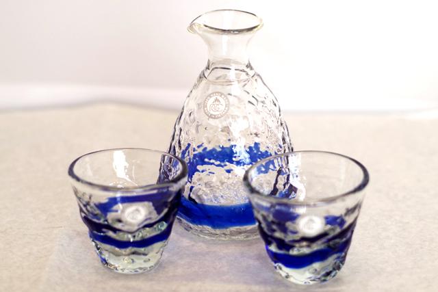 琉球ガラス、徳利、おちょこセット、青、おちょこ2個