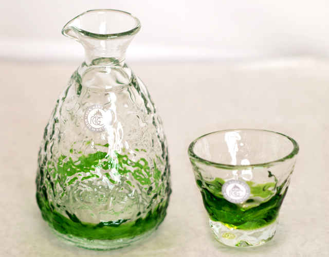 琉球ガラス、徳利、おちょこセット、緑、おちょこ1個