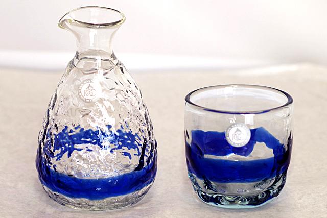 琉球ガラス、徳利、でこぼこ線入りセット、青、でこ線1個