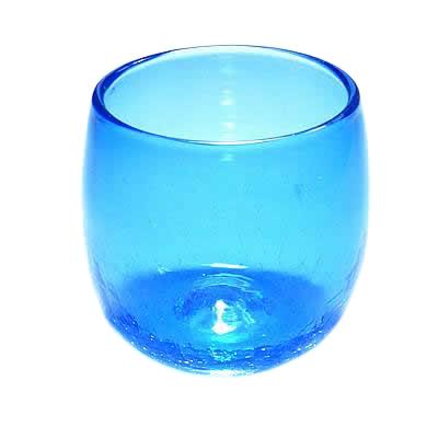 琉球ガラス、たる型グラス、青、正面