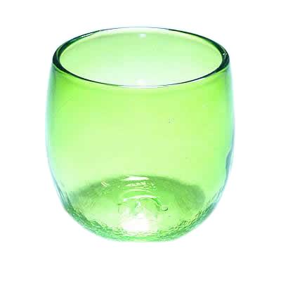 琉球ガラス、たる型グラス、緑、正面