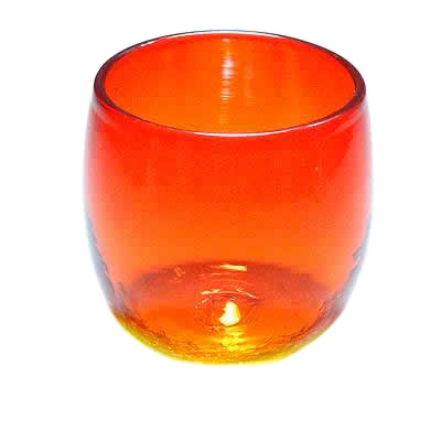 琉球ガラス、たる型グラス、オレンジ、正面