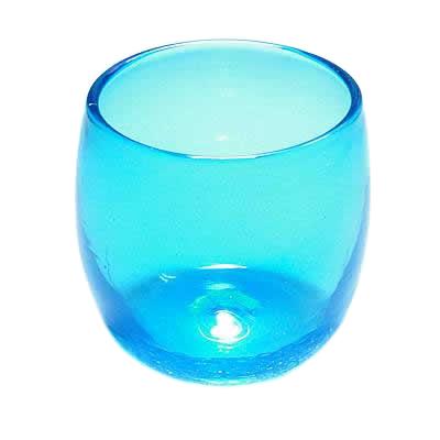 琉球ガラス、たる型グラス、水色、正面
