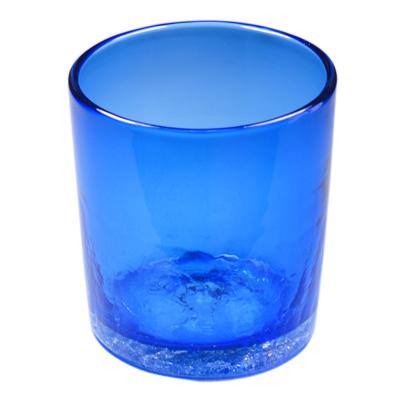 琉球ガラス、ロックグラス、青、正面、1個