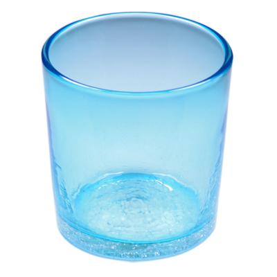 琉球ガラス、ロックグラス、水色、正面、1個