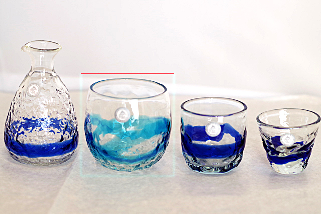 琉球ガラス、でこぼこ樽型、青水、徳利と他グラスとの比較