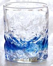 琉球ガラス、でこぼこロックグラス、青、正面