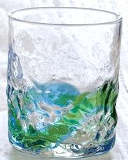 琉球ガラス、でこぼこロックグラス、水緑、正面