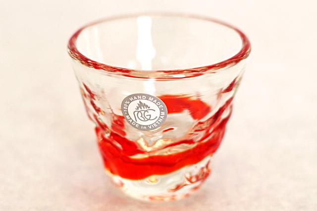 琉球ガラス、単品ティーダぐいのみ、おちょこ、オレンジ、正面、1個