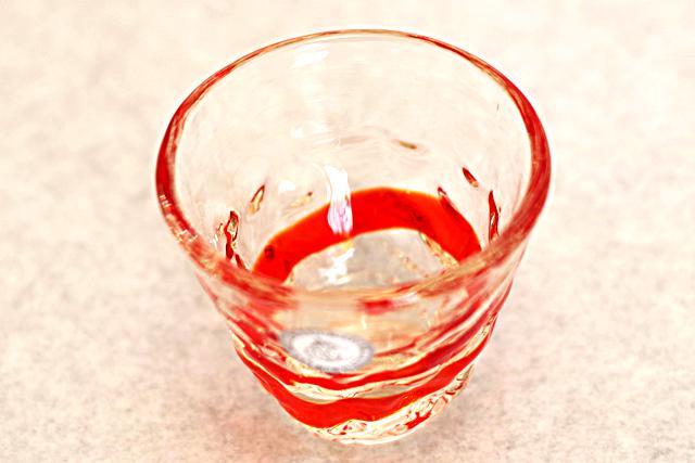 琉球ガラス、ティーダぐいのみ、おちょこ、オレンジ、斜め上から、1個