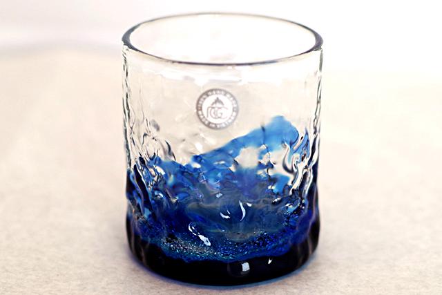 琉球ガラス、海でこぼこ単品、青、正面、1個
