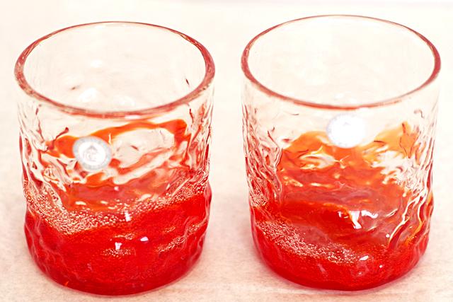 琉球ガラス、ロックグラス、オレンジ、正面、2個