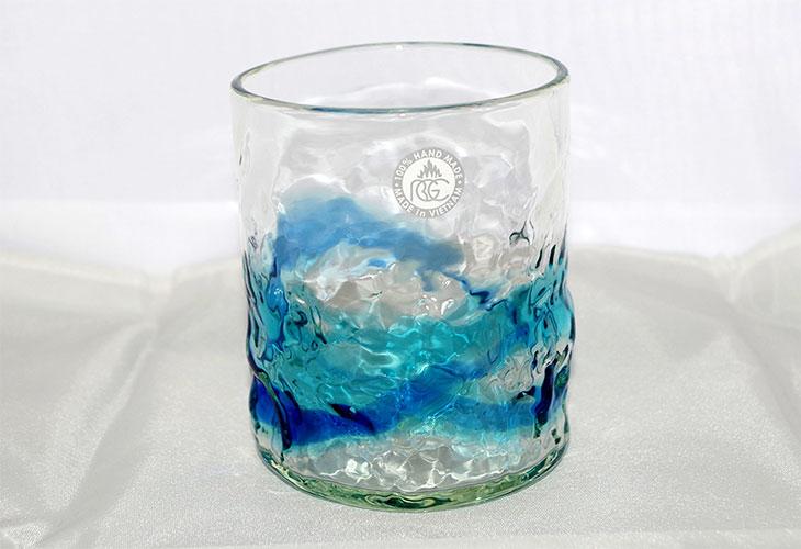 <正規品>単品でこぼこロックの琉球ガラス!氷がしっかり入る大きなロックグラスで2色用意(青/水、水/緑)