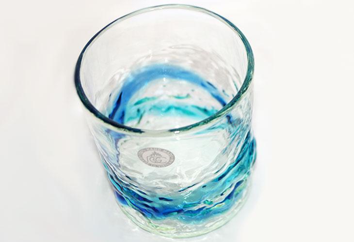 正面<正規品>単品でこぼこロックの琉球ガラス!氷がしっかり入る大きなロックグラスで2色用意(青/水、水/緑)