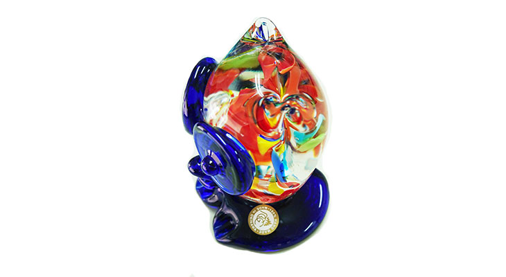 横から<正規品>限定品。縁起の良い琉球ガラス製ふくろう(青色)3色用意(青色、水色、緑色)Made in OKINAWA 沖縄製品