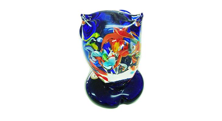 後ろ<正規品>限定品。縁起の良い琉球ガラス製ふくろう(青色)3色用意(青色、水色、緑色)Made in OKINAWA 沖縄製品