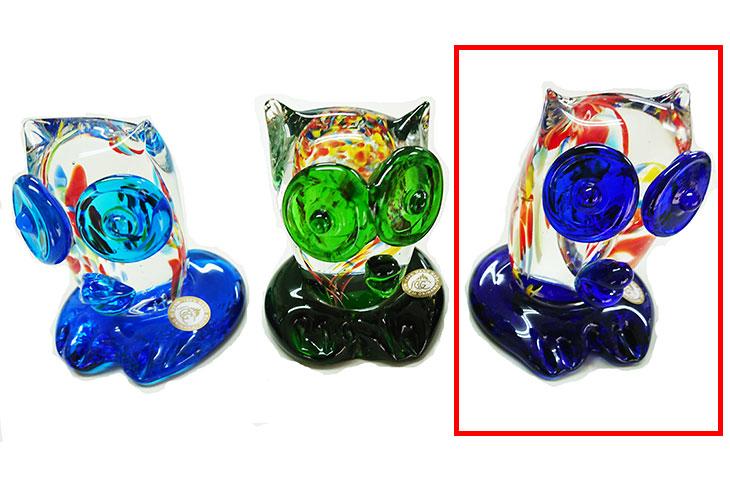 3種<正規品>限定品。縁起の良い琉球ガラス製ふくろう(青色)3色用意(青色、水色、緑色)Made in OKINAWA 沖縄製品