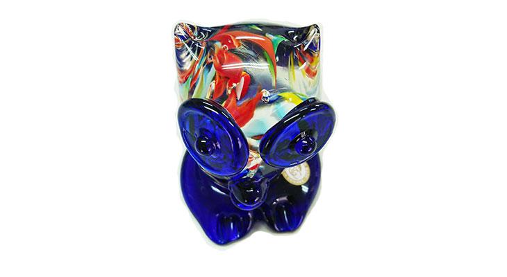 上から<正規品>限定品。縁起の良い琉球ガラス製ふくろう(青色)3色用意(青色、水色、緑色)Made in OKINAWA 沖縄製品