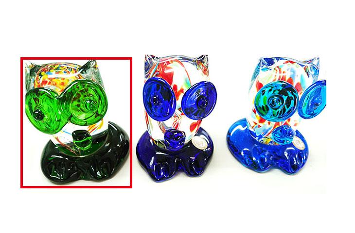 横並び<正規品>限定品。縁起の良い琉球ガラス製ふくろう(緑色)3色用意(青色、水色、緑色)Made in OKINAWA 沖縄製品