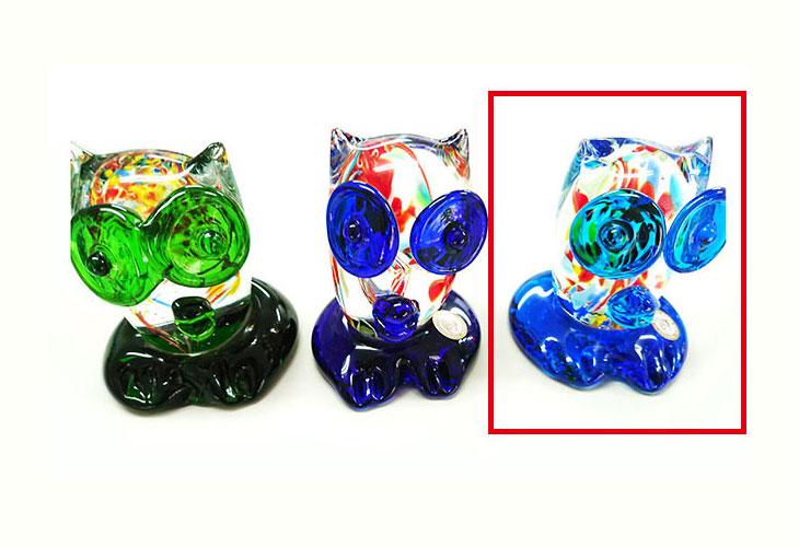 緑・青・水。<正規品>限定品。縁起の良い琉球ガラス製ふくろう(水色)。透き通ったガラスの中に模様を入れ、目と足を綺麗な水色。