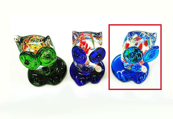 3色。<正規品>限定品。縁起の良い琉球ガラス製ふくろう(水色)3色用意(青色、水色、緑色)Made in OKINAWA 沖縄製品
