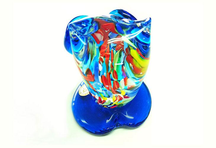 後ろ。<正規品>限定品。縁起の良い琉球ガラス製ふくろう(水色)3色用意(青色、水色、緑色)Made in OKINAWA 沖縄製品