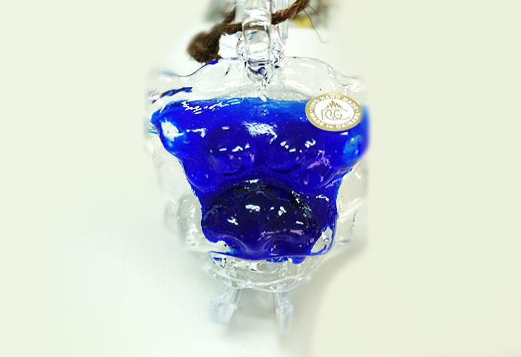 正面①<正規品>限定品。縁起の良い琉球ガラス製シーサー(青色)4色用意(オレンジ、青色、水色、緑色)Made in OKINAWA 沖縄製品