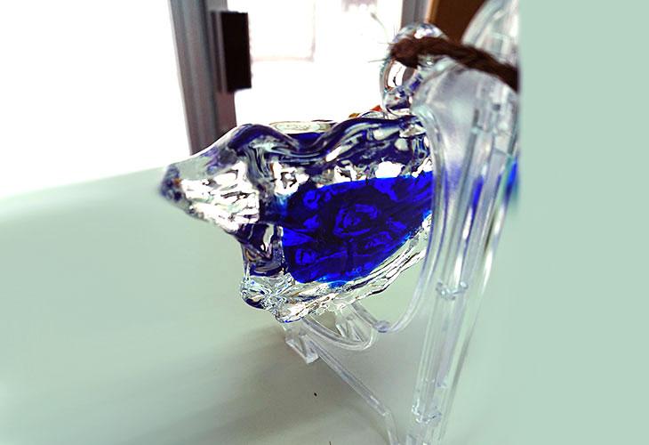 横<正規品>限定品。縁起の良い琉球ガラス製シーサー(青色)4色用意(オレンジ、青色、水色、緑色)Made in OKINAWA 沖縄製品