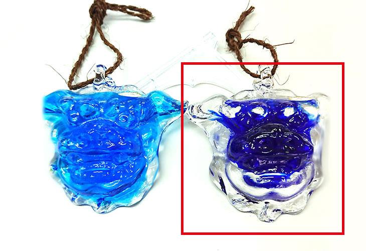 横並び<正規品>限定品。縁起の良い琉球ガラス製シーサー(青色)4色用意(オレンジ、青色、水色、緑色)Made in OKINAWA 沖縄製品