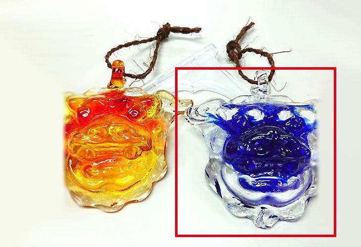 2つ並び<正規品>限定品。縁起の良い琉球ガラス製シーサー(青色)4色用意(オレンジ、青色、水色、緑色)Made in OKINAWA 沖縄製品