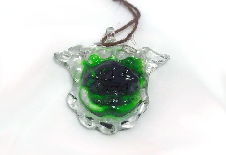 正面?<正規品>限定品。縁起の良い琉球ガラス製シーサー(緑色)4色用意(オレンジ、青色、水色、緑色)Made in OKINAWA 沖縄製品