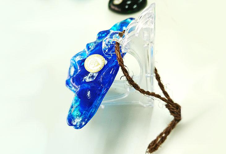 ★横。<正規品>限定品。縁起の良い琉球ガラス製シーサー(水色)4色用意(オレンジ、青色、水色、緑色)Made in OKINAWA 沖縄製品