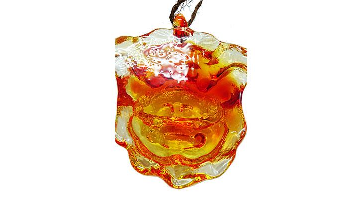背面<正規品>限定品。縁起の良い琉球ガラス製シーサー(オレンジ)4色用意(オレンジ、青色、水色、緑色)Made in OKINAWA 沖縄製品