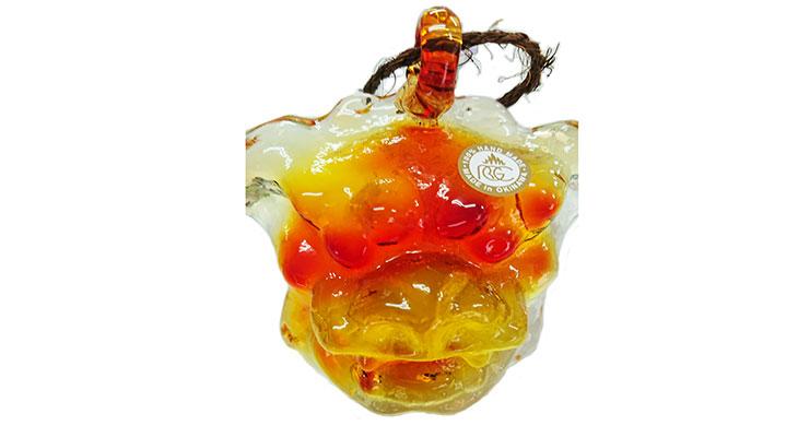 アップ<正規品>限定品。縁起の良い琉球ガラス製シーサー(オレンジ)4色用意(オレンジ、青色、水色、緑色)Made in OKINAWA 沖縄製品
