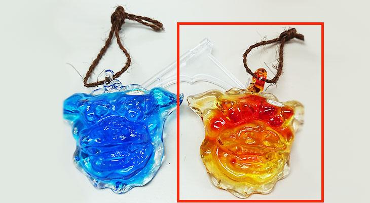 水色 比較<正規品>限定品。縁起の良い琉球ガラス製シーサー(オレンジ)4色用意(オレンジ、青色、水色、緑色)Made in OKINAWA 沖縄製品