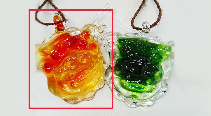 緑色 比較<正規品>限定品。縁起の良い琉球ガラス製シーサー(オレンジ)4色用意(オレンジ、青色、水色、緑色)Made in OKINAWA 沖縄製品